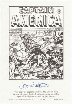 Joe Simon Signed Bookplate comes with Captain America - The Classic Years, Volumes 1 & 2, Softbacks, First Editions, First Printings, As New. All for $75