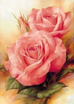 DIY Pink Rose Diamond Painting Flower Cross Stitch Pink Floral Needlework Home Decorative Full Round Diamond Embroidery Arte Floral, Illustration Blume, Rose Art, Love Flowers, Draw Flowers, Mosaic Flowers, Exotic Flowers, Beautiful Paintings, Rose Paintings