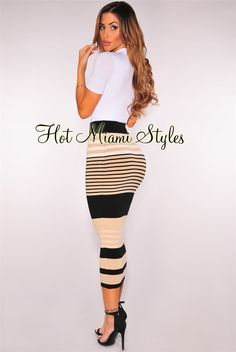 Contour your curves in style in this black mocha striped knit number from desk hours to happy hour. White Maxi Dresses, Dresses With Sleeves, Club Outfits Clubwear, Claudia Sampedro, White Long Sleeve Dress, Black Midi Skirt, Hot Miami Styles, Miami Fashion, Striped Knit