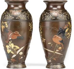 A pair of mixed metal inlaid bronze vases Meiji period (late 19th century)