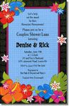 Bright vibrant colors make these Hawaiian invitations fun and inviting! This design can be used for a Hawaiian luau or for a party with a Hawaiian flair. The colorful Hibiscus flowers are accentuated with a black border and a blue background.Ideal for: Hawaiian InvitationsManufacturer: Paper So PrettyFont Shown: Cheetah and TikiItem Size: 6 in. x 9.25 in.Card Stock: 80 lb.Envelope: Classic White
