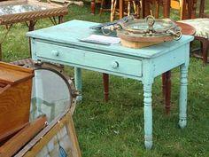 aqua shabby chic antique table