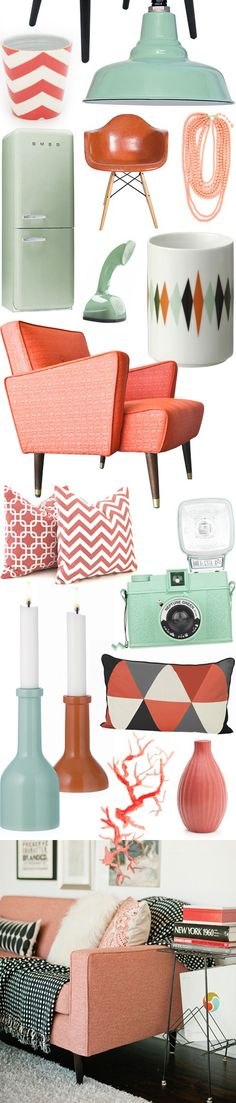 vintage inspired living room ideas-- Color of the Month on LoveNestDesign blog-- June is Coral and July is Mint Green
