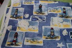 Fabric Nautical Lighthouse Sea Scape Sea Shells by Creativewings Gulls, Sea Birds, Some Times, Fabric Patterns, Lighthouse, Sea Shells, Michigan, Nautical, Blanket