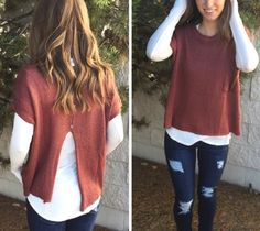 We are OBSESSED with layering sweaters over long sleeves tops. So warm for fall and winter!  Top $46 // Item 1020BM1 Jeans $51 // Item 1020BM2
