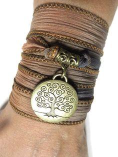 Bohemian Tree Of Life Silk Wrap Bracelet Yoga Jewelry Silk Ribbon Bracelet Spiritual Jewelry Wrapped Bracelet Unique Christmas Gift For Her