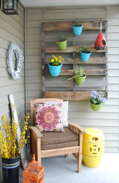 orch hanging pallet used to hang small planter