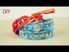 Beaded Wrap Bracelet with Square Knot and Button Clasp - Tutorial