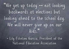 Here's a video message from NEA President Lily Eskelsen García that was published today. It was a rough election, though we had some bright spots in California.