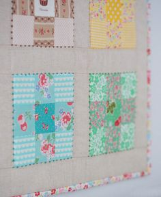 Love the french knots outlining the 9 patch blocks.                              One of my favourite things about being part of this amazing, creativ...