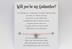 proposal godfather spiritual message card gift faith baptism Jesus godmother keepsake WISH bracelet wishing god confirmation