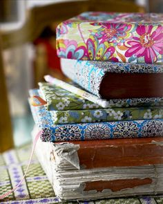 covering notebooks with pretty fabrics