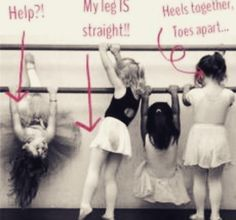 I AM the one in the middle.  I can't go through a class without being told multiple times to straighten my leg. :/