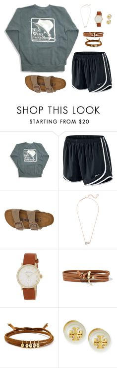"""""""BWTS tee"""" by livnewell ❤ liked on Polyvore featuring NIKE, Birkenstock, Kendra Scott, Marc Jacobs, Tory Burch and Jules Smith"""