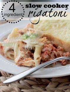 {4 Ingredient} Slow Cooker Rigatoni