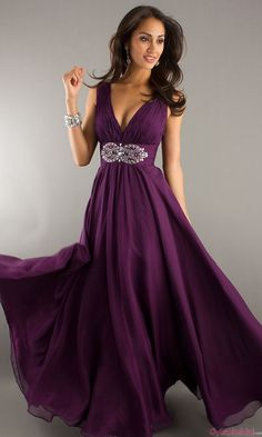 New! Sexy Long Grape Chiffon Evening Dresses ED2024
