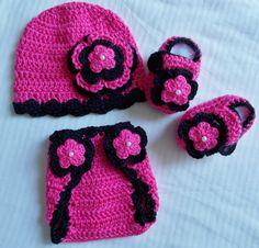 Bebé niña muchacha infantil ganchillo sombrero gorro botines