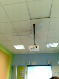 The best spot to place the projector.  I BET THIS  (or something similar) LOOKS FAMILIAR!  Most schools have genius's like this -- oh yeah...and the administration too!