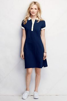 Women s Short Sleeve Polo Dress - Colorbock from Lands  End Esportes 03a43a7286efb