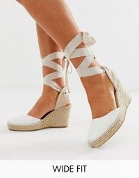 4087e8bcac1 DESIGN Jaylen espadrille wedges in white in 2019 | Shoes ...