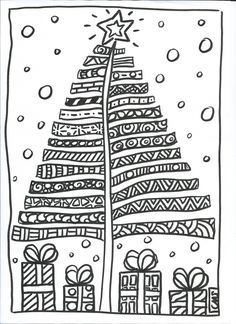 Zentangle Christmas Tree & Presents Doodle Noel Christmas, Christmas Crafts For Kids, Christmas Activities, Christmas Printables, Christmas Colors, Christmas Projects, Winter Christmas, Christmas Decorations, Colouring Pages