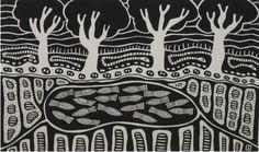 "Sally Morgan, ""Waterhole"" Woodblock print, 38 x 51 cm Aboriginal Culture, Aboriginal Art, Lino Art, Cut Out Art, Wood Joints, Late 20th Century, Australian Art, Woodblock Print, Art Auction"