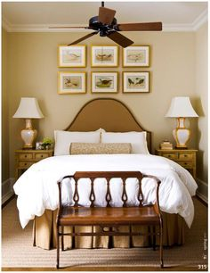 Brown bedroom with a brown ceiling fan.