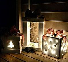 Make Pretty, Light Up Wooden Presents for Your Porch