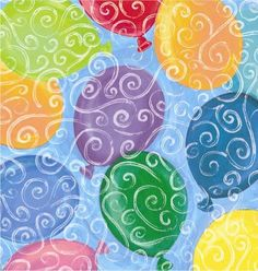 Colorful balloons and swirls against a pretty light blue background give off the effect that these balloons are floating up into the sky. Balloons Galore is a great gift wrap for birthdays, graduations, retirement parties, etc.