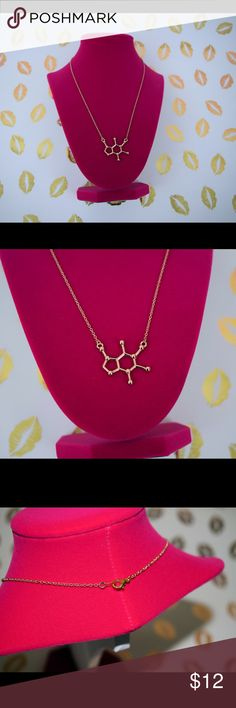 """Gold Caffeine Molecule Necklace Can't live without your caffeine fix? Then you MUST have this necklace! Gold tone caffeine molecule on 18"""" chain with lobster clasp. Silver available in a separate listing. Jewelry Necklaces"""