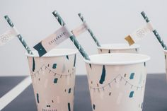 Birthday Celebration Straw Flags / Gold & Gray by Paris312party