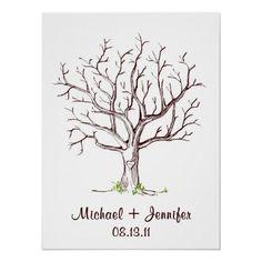 Hochzeits-Fingerabdruck-BaumGuestbook Plakate