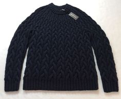$600 Michael Kors Men Wool & Yak Super Chunky Heavy Cable Knit Sweater Navy TTES in Clothes, Shoes & Accessories, Men's Clothing, Jumpers & Cardigans | eBay