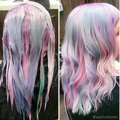 Hairstyles and Beauty: The Internet`s best hairstyles, fashion and makeup pics are here. Hair Color Purple, Cool Hair Color, Pelo Multicolor, Aesthetic Hair, Dye My Hair, Rainbow Hair, Gorgeous Hair, Pretty Hairstyles, Hair Looks
