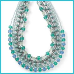 Paradise Strand Necklace NWT Paradise Strand Necklace NWT MSRP$148 Necklace is very lightweight considering the amount of strands on this necklace &is perfect for those warm days. Made from glass resin beads.Beads have a matt sheen on majority of strands & teal beads have a semi-gloss shine. This set of 3 detachable necklaces flows with deep ocean blues &greens. Glass & resin beads are pulled-from-the-sea shades are nothing short of sunken treasure.Wear as one, two or three strands for a…