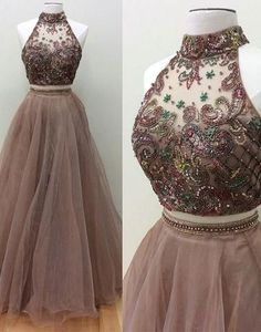 2017 two pieces beads long prom dress, long evening dress,BD172607