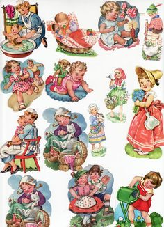 Vintage Die Cut Scrap Children Lot