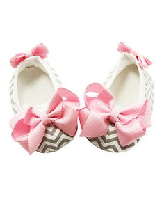 Another great find on #zulily! Gray & Pink Chevron Bow Bootie by Dress Up Dreams Boutique #zulilyfinds