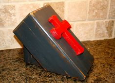 Distressed Charcoal gray knife holder with red by GraceFlowsFreely, $25.00