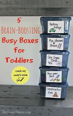 5 Brain-Boosting Busy Boxes for Toddlers - The Good Mama - 5 Brain-Boosting Busy Boxes for Toddlers – The Good Mama 5 Brain-Boosting Busy Boxes for Toddlers The Ultimate Party Week 51 Quiet Time Activities, Toddler Learning Activities, Games For Toddlers, Sensory Activities, Infant Activities, Kids Learning, Toddler Activity Bags, Toddler Busy Bags, Activities For 3 Year Olds