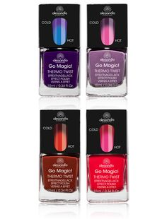 Party Polishes: Thermo Twist Polish by Alessandro International    The latest nail polish trend, the color changes as the temperature changes, ranging from purples and blues to reds and pinks. We can't wait to try.
