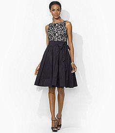 Cute. I want to twirl in it. Lauren Ralph Lauren Belted Lace Dress #Dillards