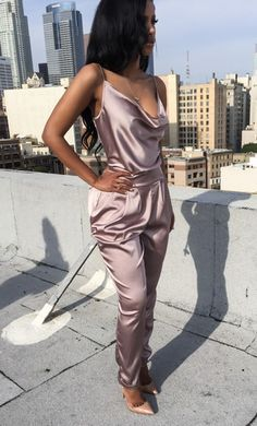 Sexy Satin Jump Suit In A Super Pretty Pearl Shade Of Purple. Love This!