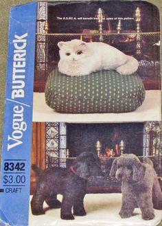"Vogue Butterick 8342 529 Stuffed 20.5"" Dog 15"" Cat, Plush Toy, Kitty Puppy Plushies, Vintage 1980s Craft Sewing Pattern Uncut Factory Folds by RosesPatternsEtc on Etsy"