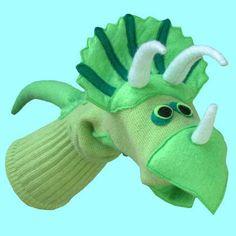 Handmade Dinosaur Sock Puppet Triceratops by SockHollow on Etsy Dinosaur Puppet, Dinosaur Socks, Dinosaur Stuffed Animal, Sock Puppets, Shadow Puppets, Hand Puppets, Puppet Patterns, Bear Patterns, Doll Patterns