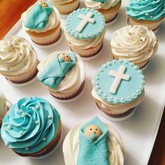 5 Easy Steps to Planning A Baptism Party Christening Cupcakes Boy, Baby Boy Baptism, Boy Christening, Baptism Themes, Baptism Party Decorations, Baptism Ideas, Planning A Baptism, Cupcakes For Boys, Angel Cake