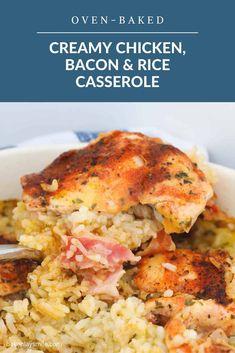 Bacon Recipes, Chicken Recipes, Cooking Recipes, Savoury Recipes, Rice Recipes, Chicken Ideas, Cleaning Recipes, Casserole Dishes, Casserole Recipes