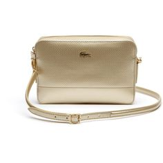 Lacoste XL Women's Chantaco Holiday Metallic Leather Crossover Bag ($178) ❤ liked on Polyvore featuring bags, handbags, shoulder bags, bags bags, leather goods, rich gold, leather shoulder handbags, brown handbags, evening handbags and crocodile leather handbags