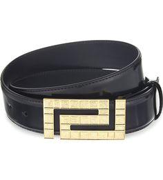 55d0b0d2957 VERSACE - Motif buckle leather belt