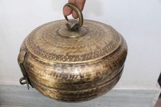 Antique Vintage Hand Carved Design Round Brass Tiffin Chapati / Bread Box #3
